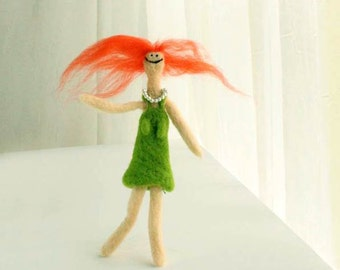 Needle felted happy redhead doll - green dress and pearl necklace