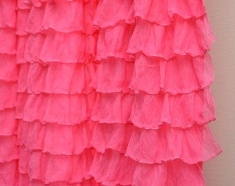 Ruffle Curtain Panel, Hot Pink, or You pick the Color 96 inches - Long Window Treatments Ruffled for Bedroom, Nurserys, Office, and Studios