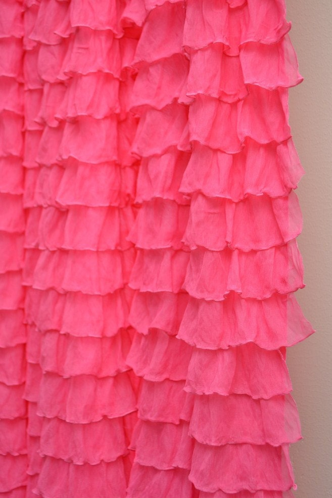 hot pink ruffle curtain panel 96 inches long by avisiontoremember