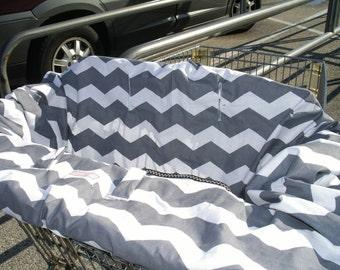 Shopping Cart cover  for boy or girl....Gray Chevron  Mini Mooo