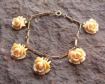 Bracelet, Dangle Bracelet, Vintage Rose Dangle Link Bracelet