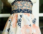 Girls Halter Dress, Ruffle Dress, Sundress, Navy and Peach