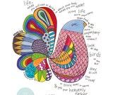 Scripture Art Print, Do Not Worry, Hand Drawn Rainbow Bird Illustration (8x10)