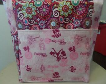 bridal bridesmade 5pc gift set pampered girls pink black blue bags/ tote bags