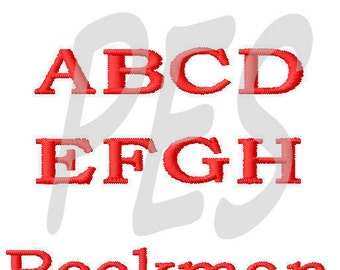 "Bookman Embroidery Font  in 3 Sizes - 2"", 3"", 4"" FILL - pes files"
