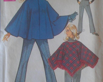 Vintage 60s Zip Front Standup Collar Cape Poncho Flared Bell Bottom Pants Sewing Pattern Simplicity 7871 B38