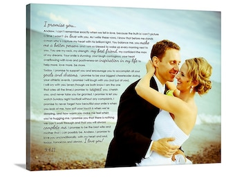 Wedding sign Canvas Art Personalized Your Photo and Words CUSTOM vows lyrics Wedding Anniversary Gift Art 24X36 inches