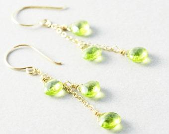 Peridot Dangle Earrings, August Birthstone, Green Gemstone Earrings