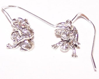 Sterling Silver 3D LEAP FROG Earrings - French Earwires - Pet, Play, Totem