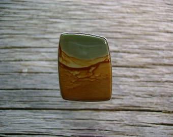 Oregon Succor Creek Picture Jasper Ring - Size 7.5