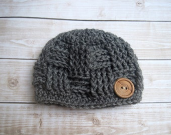 Newborn Boy Beanie, Baby Hospital Hat, Infant Coming Home Hat, Baby Boy Cap, Newborn Winter Hat, Boy Baby Hat, Hat for Boys, Grey