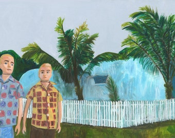 Ken and Brad, San Antonio, Texas - 1963.  Original painting by Vivienne Strauss.
