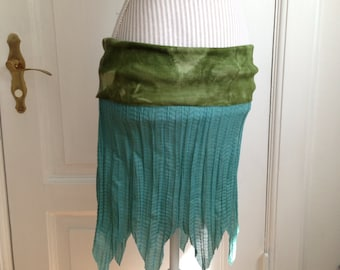 Ocean Quest - Elven Hand Dyed Pointy Pixie Foldover Fold Over Skirt Tube Top