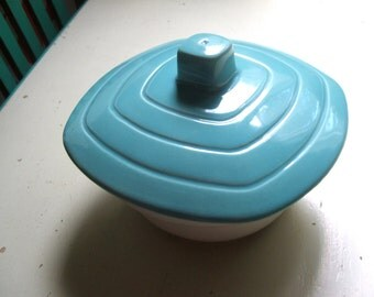 Vintage California Pottery Lidded Bowl Ceramic Dish Turquoise and White