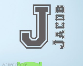 Boys Name Wall Decal - Sports Lettering Name -  Childrens Wall Decal - Teen Wall Decal