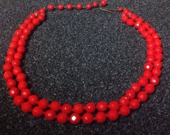 Vintage Red Glass Faceted Choker Beads Germany Necklace