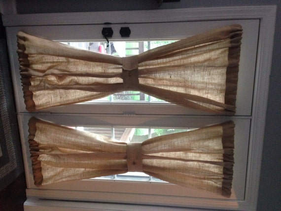 Rustic burlap window treatments - Burlap Sheers French Door Drapes Burlap Curtains French Country Window
