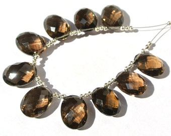 10Pcs 5 Pair 16x12mm AAA Genuine Smoky Quartz Side Drilled Faceted Oval Briolette Finest Quality Wholesale Price