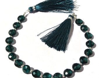 8 Inches Super Finest AAA Teal Blue Quartz Faceted Coin Briolettes Size 8x8mm Approx