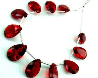 10 Pcs 5 Matched Pair - AAA Red Quartz Faceted Cut Stone Pear Briolettes Size 14x10mm Approx