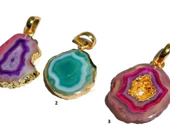 24K Gold Electroplated Edge Purple, Green n Pink Druzy Agate Geode Slice Pendant Size 44x25 - 47x27mm You Choose (LOT ELDP46)