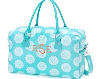 Woman's Aqua Weekender Bag, Monogrammed Carry On,  Get Away Bag Weekender or Overnight, Carry-on