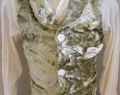 Steampunk Men's Vest Small light green fake fur  Herman's 3 pocket & back strap Satin lined