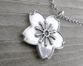 Cherry Blossom Sterling Pendant Necklace PMC Artisan Jewelry