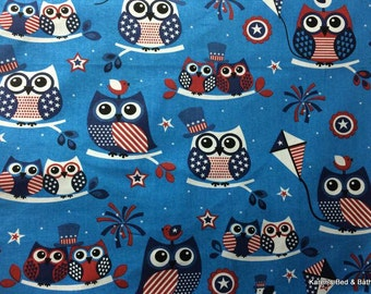 Owls Birds BTY Cotton Fabric Red White Blue July 4th Patriotic Tree Branches NEW
