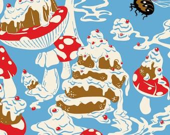 Cake Cupcake Print, Cake Art, Mushroom Print, Whimsical, Giclee Print Large