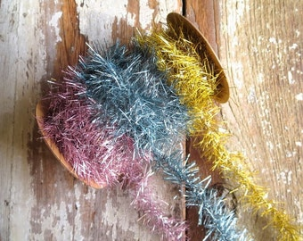 SALE -- Tinsel Garland Ribbon in Spring Trio Pink, Blue and Yellow