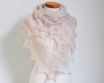Lace knitted shawl with fresh water pearls, M207
