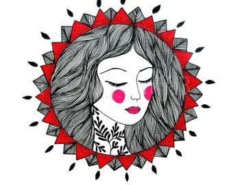 Mandala girl I. Illustration. Drawing.