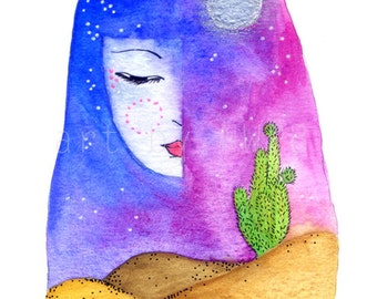 Goddess of the desert. Art print. Illustration