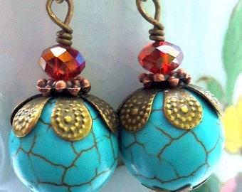 Turquoise Earrings. Turquoise Dangle Earrings. Turquoise Jewelry.