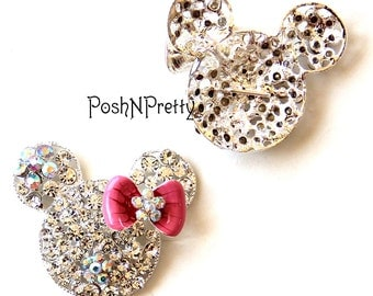 Two BIG Mouse head with pink bow Sparkly Crystal Slider - for 3/8 ribbon