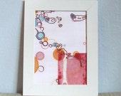 Abstract Figurative Circles Face Eyes Pink Block Print 5 x 7 Digital Print