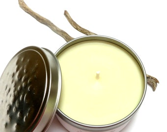 Raw Soy Candle with Hidden Beach Stone Bead GRAPEFRUIT GRANITE Scented Treasure Candle Tin & Drilled Pebble Charm Surprise