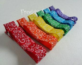 Rainbow Swirls Hair Clip Starter Pack - Tuxedo Bow Clippie Set - No Slip Velvet Grip