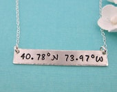 Latitude Longitude Sterling Silver Necklace | Personalized | Hand Stamped.  (NN030)