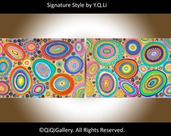 "Set of Two Huge Painting abstract wall art wall decor hand paint canvas art colorful Impasto painting ready to hang ""Joyful"" by QIQIGallery"