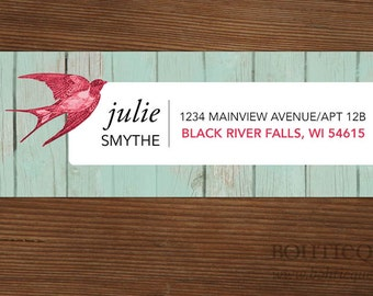 Custom Address Labels Swallow on Whitewashed Boards