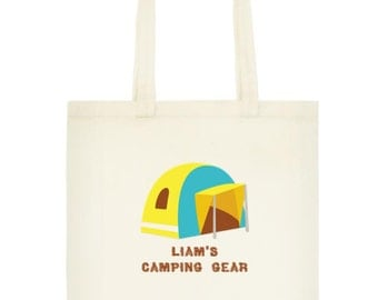 Personalized Camping Gear Canvas Tote Bag