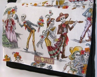 Black and White Day Of The Dead Calacas Print MESSENGER Book Laptop Diaper BAG