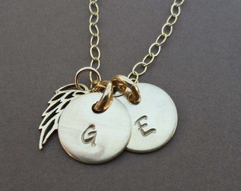 My Angels Gold Personalized Gold Fill Initials with Angel Wing - Custom Two Initial Necklace -Hand-Stamped Custom Initial Pendants -  S210