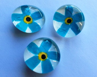 Hand painted glass gem magnets party favors turquoise aqua flowers flower