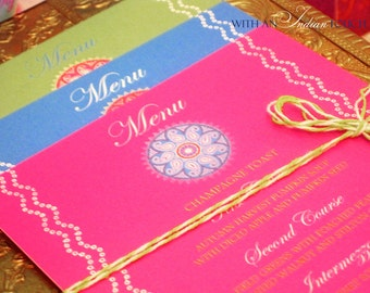 24 Colorful Menu Cards in Tie and Dye Pattern