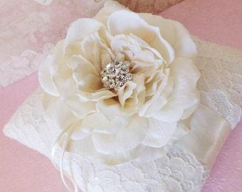 Vintage Lace Wedding Ring Bearer Pillow- Garden Rose Crystal Rhinestone Charm