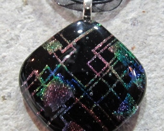 Fused Glass Pendant with a ribbon necklace: Circuit Party