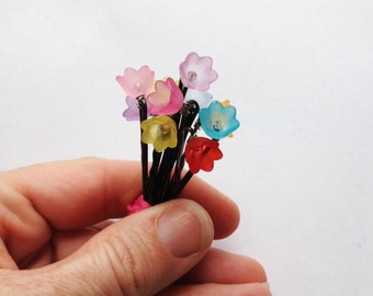 Dainty Flower Girl Hair Pins - Set of 10 - Red, Orange, Yellow, Green, Blue, Aqua, Violet, Purple, Pink, Rose